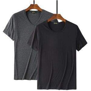 Image 1 - 2020 kühlen T Hemd Männer 95% Bambus Faser Hüfte Hop Grund Leer Weiß T shirt Für Herren Mode T shirt Sommer Top t Tops Plain Schwarz