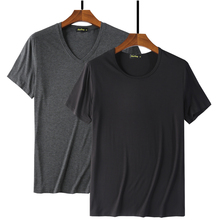 Camiseta básica blanca de fibra de bambú para hombre, Camiseta básica de Hip Hop para hombre, camiseta a la moda, camisetas lisas negras 2020