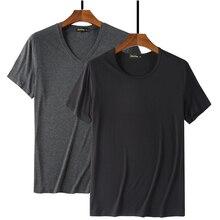 Camiseta masculina básica branco, 2020 fibra de bambu, hip hop, moda masculina, verão 95% camisetas preto liso