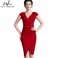 Women S Deep V Neck Sleeveless Pleated Slit Fit Business Bodycon Slim Offeice Evening Party Dress