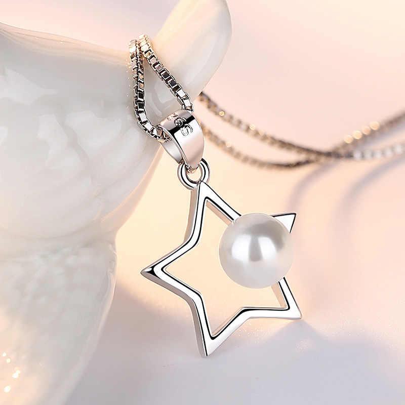 100% 925 niezawodnego srebra mody imitacja pereł hvězdičky ladies'pendant naszyjniki damska biżuteria kobiety krótki łańcuszek drop shipping
