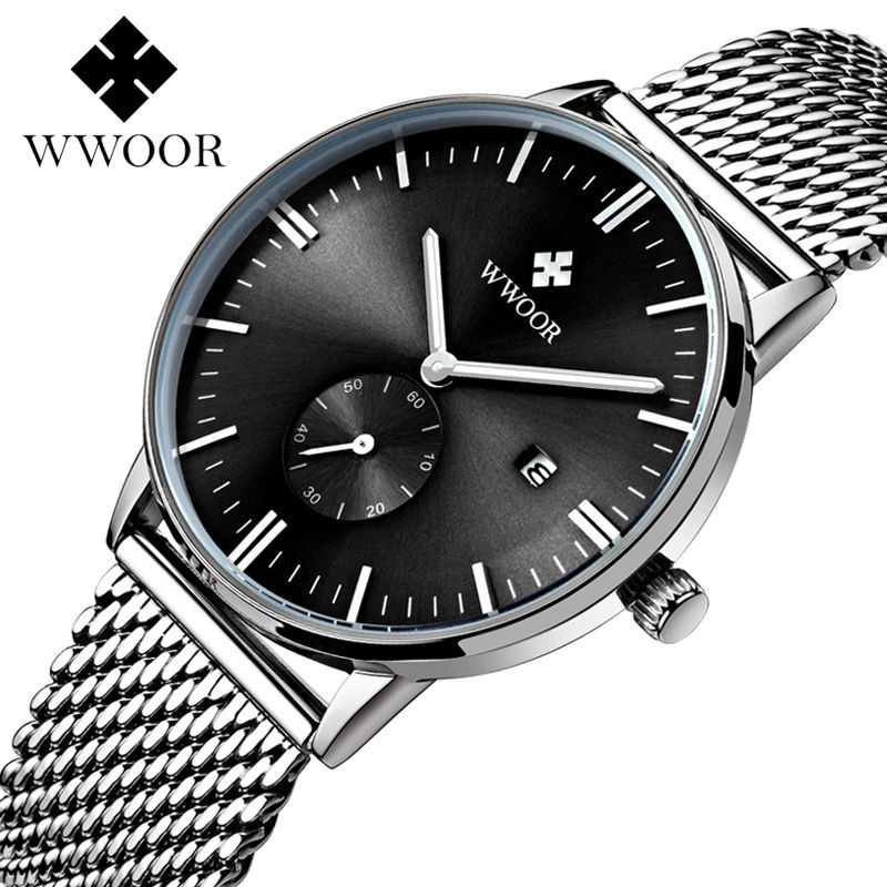 Luxury Brand Men Watches Date Clock Male Waterproof Quartz Watch Men Silver Steel Mesh Strap Casual Sports Wrist Watch Luminous biden men s watches new luxury brand watch men fashion sports quartz watch stainless steel mesh strap ultra thin dial date clock