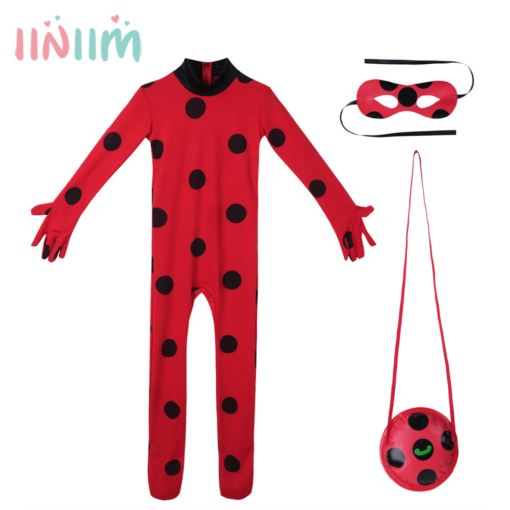5a7194459 3pcs Kids Girls Ladybug Outfit Long Sleeves Romper Jumpsuit with Eye ...