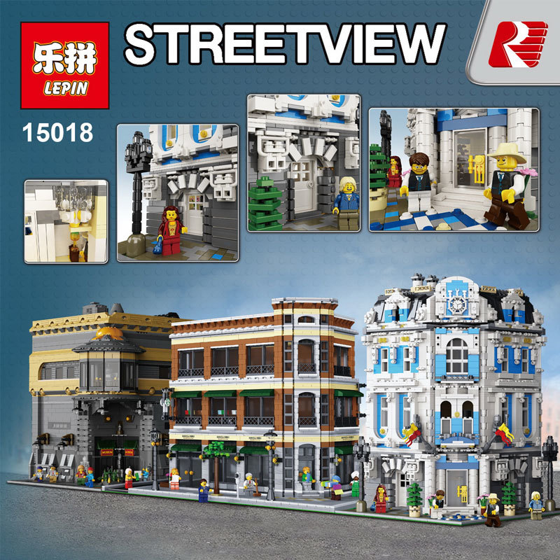 New 3196pcs the legoing creator Lepin 15018 MOC City Series The Sunshine Hotel Set Building Blocks Bricks Educational Toys new 3196pcs lepin 15018 moc city series the sunshine hotel set building blocks bricks educational toys diy children day s gift