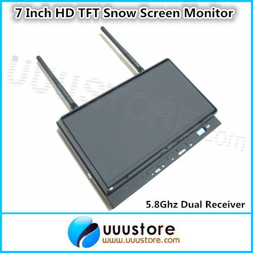 Skyzone Sky-702 FPV 7 Inch HD TFT Snow Screen Monitor with 5.8Ghz 32 Channels Diversity Dual  Receiver  and Folding Sunshade 2pcs fpv 7 inch monitor displayer pvr 732 built in battery dual 32ch 5 8ghz diversity receivers hd screen free shipping