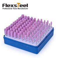Flexsteel 100pcs Mounted Stone Point Cylinder Shape Abrasive Grinding Wheels Bit Set For Dremel Rotary Tools
