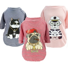 England Style Cartoon Striped Dog Clothes For Chihuahua Summer Pet Small T-Shirt Cat Clothing Puppy Overalls