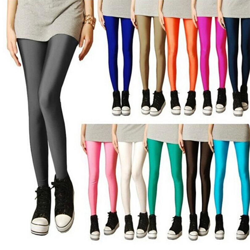 YRRETY Shiny Leggings Women Thin Full Ankle Length Leggings Stretch Pants Basic Leggings Casual Spandex Soft Multicolor Legging