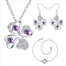 hot deal buy garilina latest design clover silver purple cz choker pendant earrings bracelet fashion jewelry sets for women s2025