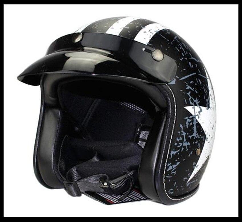 Open Face Helmet, Gloss Black, Medium Motorcycle Helmets ATV Dirt Bike Cool 3/4 Half Helmet with goggle for free gift