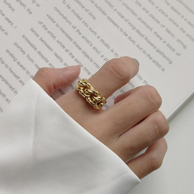 Prata esterlina 18k ouro amarelo tamanho livre, nó torcido aberto, marca de moda, vintage, presentes do amor dos namorados 925 anéis de anéis