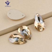 7x12mm,11x18mm,17x28mm  Pear Teardrop Sew On Rhinestones fcrystal golden shadow Color Sewing Glass Crystal Stone