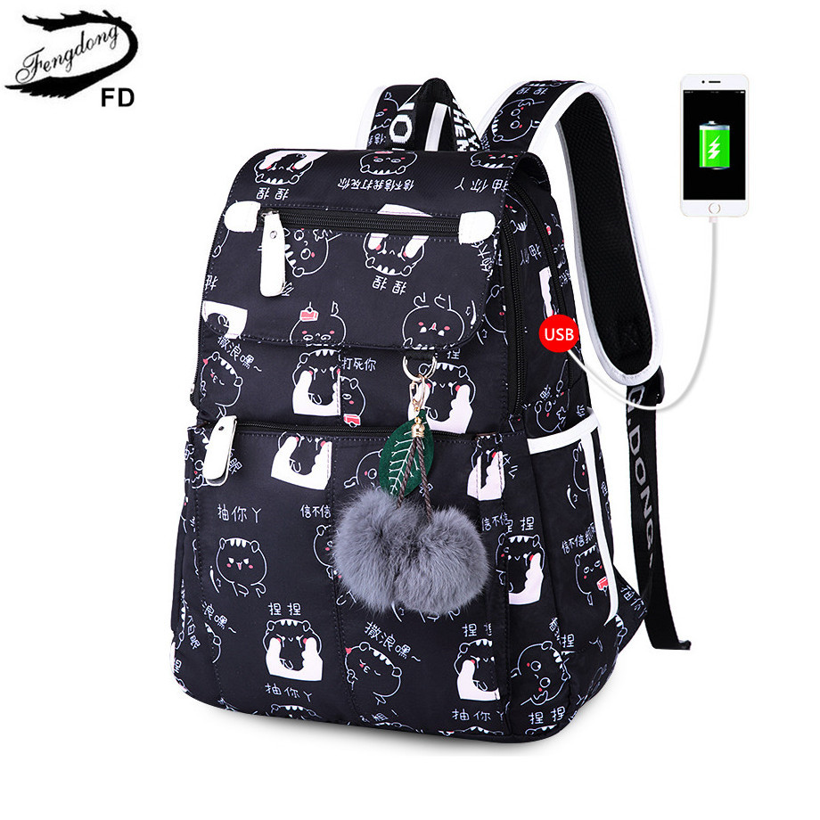 Fengdong Backpacks For Teenage Girls School Bags Black Usb Backpack Women Travel Bags Back Pack Female Fashion Laptop Bag 15.6