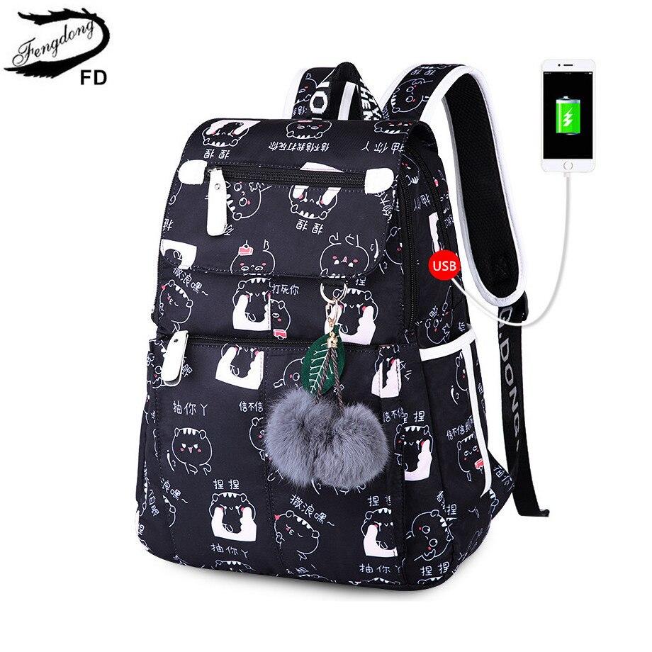 FengDong rucksäcke für teenager schultaschen schwarz usb rucksack frauen reisetaschen rucksack weibliche mode laptop-tasche 15,6