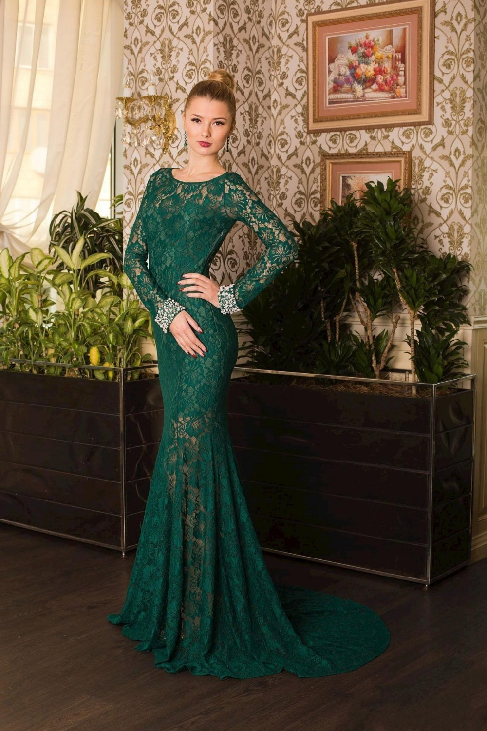 Dark Green Prom Dresses With Sleeves - Missy Dress
