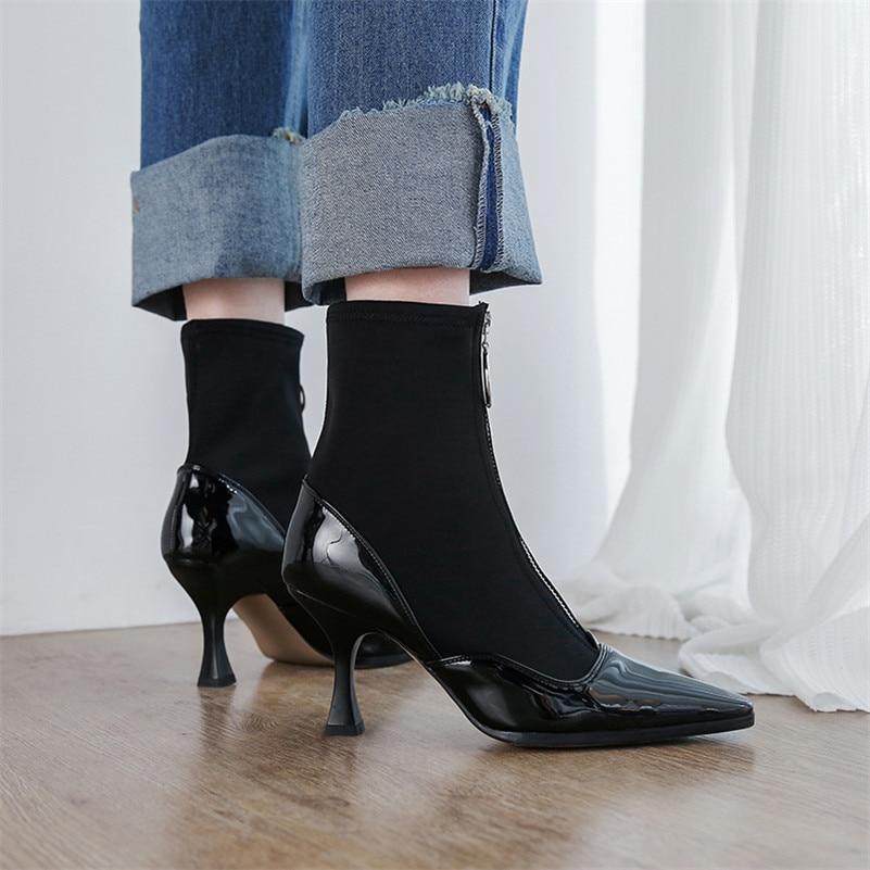 67eb2360 Baile Stretch Martin Invierno Alto De 2019 Mujer Marca Altos Botas Zapatos  Conasco Fiesta Sexy Otoño Para Negro Tobillo Bombas Tacones ...
