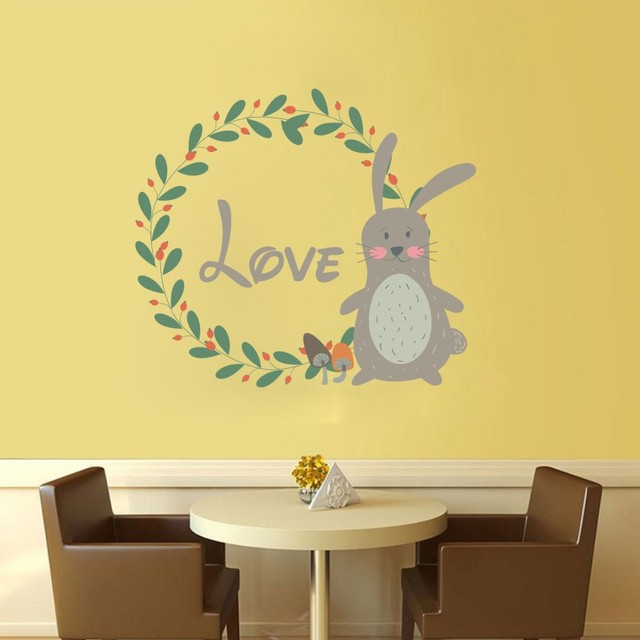 Cartoon Lovely Animals Wreath Color Wall Stickers For Bedroom Kids ...