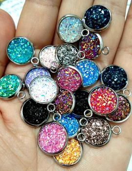 Stainless Steel Glitter Faux Druzy Resin Charm Pendant Colorful Round Charm For Girls DIY Jewelry 12mm 21colors image