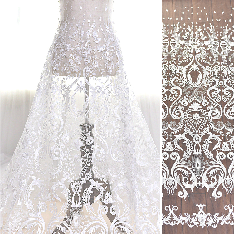 Elegant Lace Tulle Wedding Dresses Simple Design 3 4 Lace: High And Elegant Fine Workmanship Tulle Mesh Embroidered
