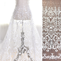High And Elegant Fine Workmanship Tulle Mesh Embroidered Ivory Wedding Lace Fabric With Floral Bridal Gown Lace