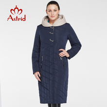 Astrid women cotton Large size coat Slim solid color warm hooded zipper winter lady