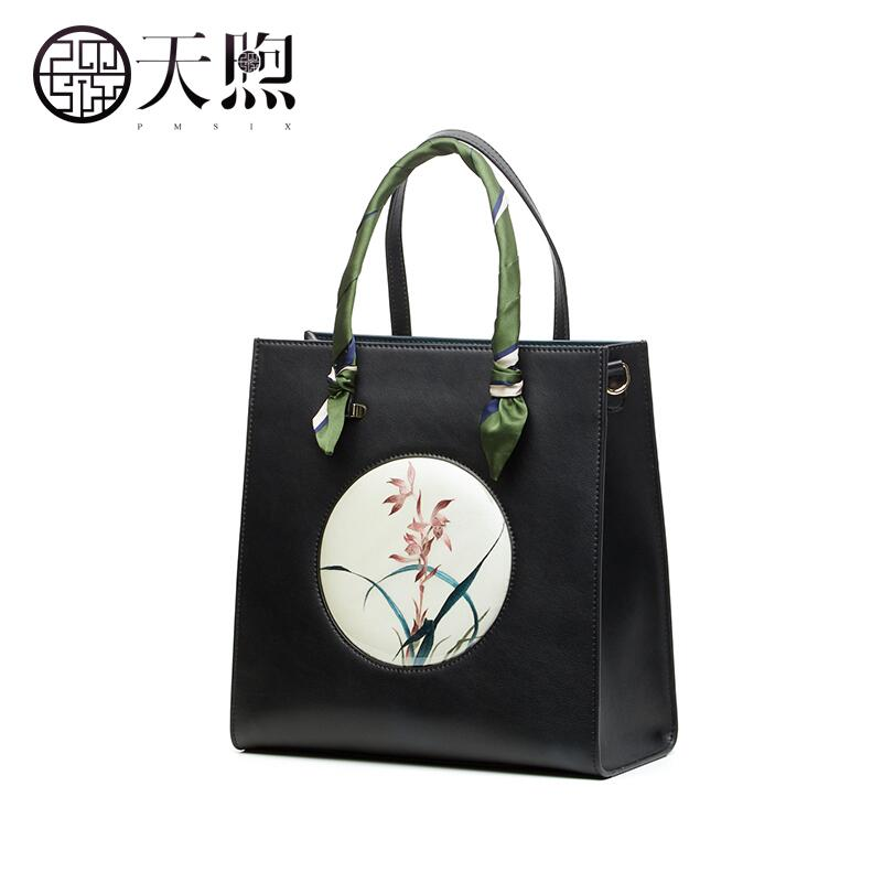 Pmsix high quality fashion luxury brand original hand embroidery ladies 2018 new Chinese style atmospheric fashion leather handb fashion style