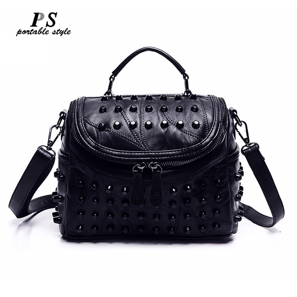 Tassel Bags Women Black Rock Rivets Punk Leather Handbags Patchwork Sheepskin 100% Leather Shoulder Messenger Bag Punk Purse