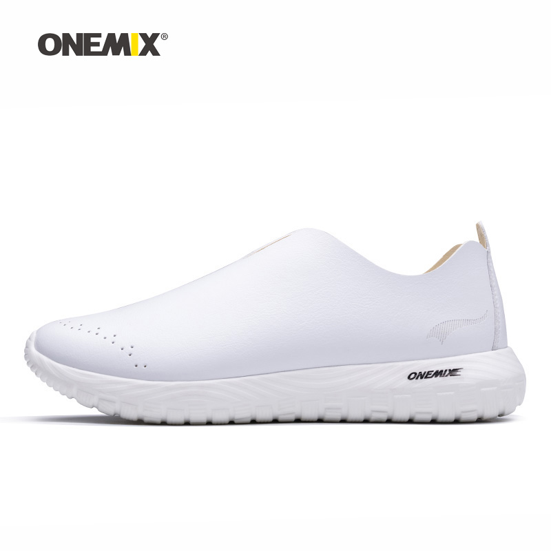 Onemix Woman Running Shoes for Women White Microfiber Leather Loafers Breathable Jogging Sneakers Outdoor Sport Walking Trainers onemix woman running shoes for women white mesh air breathable designer jogging sneakers outdoor sport walking tennis trainers
