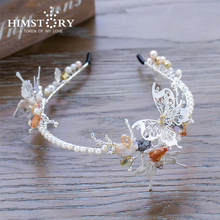 цены High End Butterfly Hairband Girl Forehead soft chain crown bride headpiece pearl jewelry rhinestone wedding accessories