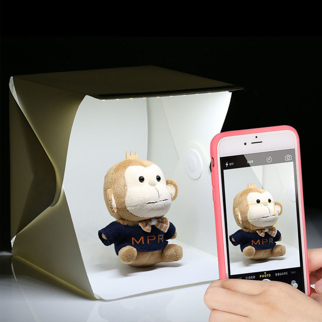 Folding Mini LED Lightbox Light Tent Portable Photography Studio Softbox Light box for iPhone Samsang Smartphone & Folding Mini LED Lightbox Light Tent Portable Photography Studio ...