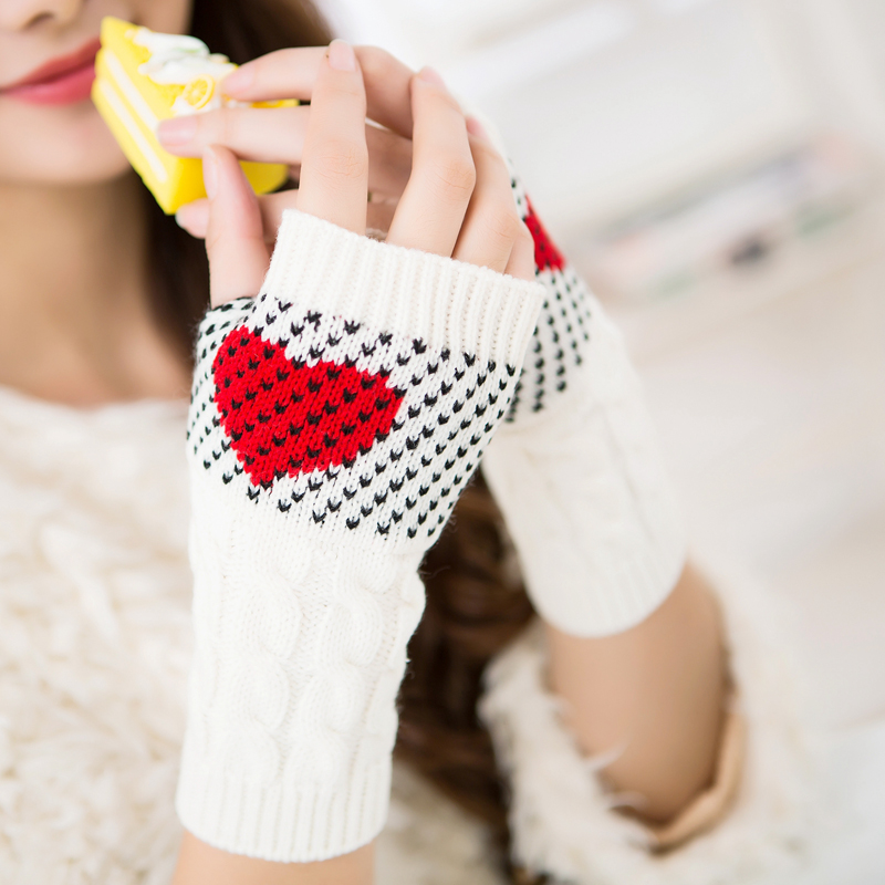 Bekleidung Zubehör Nibesser Multicolor Nähen Acryl Stricken Korean Fingerlose Halb Finger Eingabe Weiblichen Liebe Herz Weihnachten Handschuhe Code 1 Doppel Schrumpffrei
