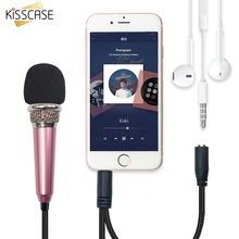 лучшая цена KISSCASE Universal 3.5mm Mini Wired Microphone Portable Mic Audio Stereo Handheld KTV Karaoke Microphone For All Smartphone