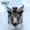 Beier new store 316L Stainless Steel ring top quality goat Ring 2015 New men vintage Jewelry Wholesale Factory Price BR8-182