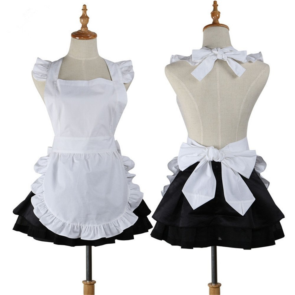 cotton Retro Cute Kitchen cooking White apron Restaurant Waitress work Apron for Woman Cosplay Costume Tablier