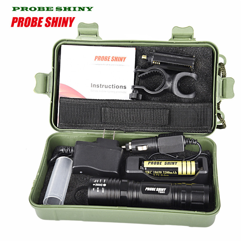 HOT!!! X800 XM-L T6 LED Tactical Zoomable Flashlight Torch Light Lamp+18650 + Charger US plug Free Shipping #NO24