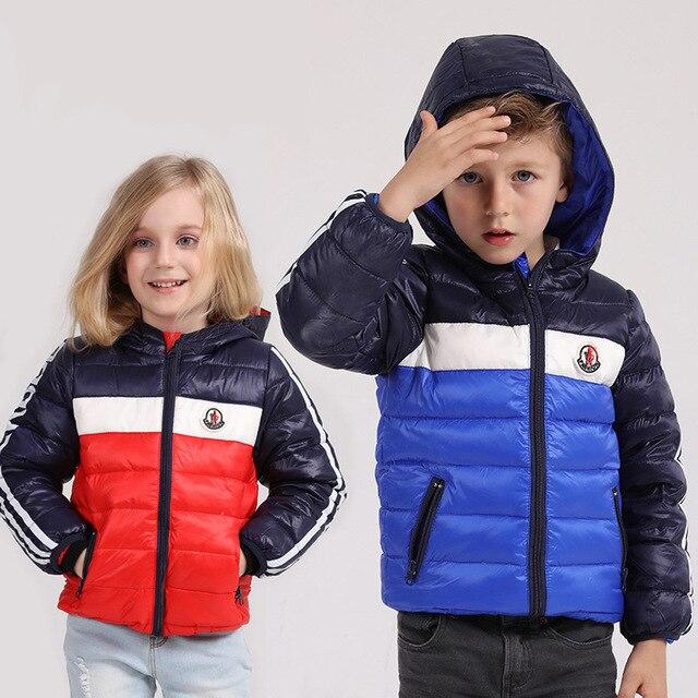 Boys Parka 2016 New Kids Patchwork Winter Down Coat Boys Hooded Coat Children's Clothing Down Jacket for Girl Vest Jacket Parkas