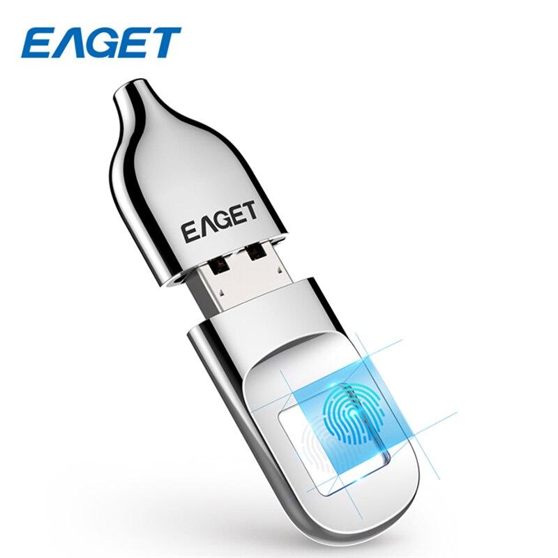 EAGET Nouveau FU5 Cryptage D'empreintes Digitales USB Lecteur Flash 32g/64g Données Sécurité Protection Bureau D'affaires En Métal Argenté