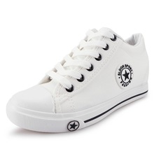 Summer Women Sneakers White Wedges Canvas Shoes Star Lace Up Casual Female Increase In Height 5 Cm