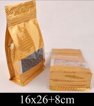 16*26+8cm Standup gold ziplock plastic bag,golden Ziplock flat bottom bellow pocket bag window plastic packing bag,100pcs/lot