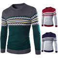 2016 Casual Cotton Mens Autumn Winter Pullover Sweaters Knitted Christmas Overcoat 0 Neck Pullovers Stripe Patchwork Coarse Wool