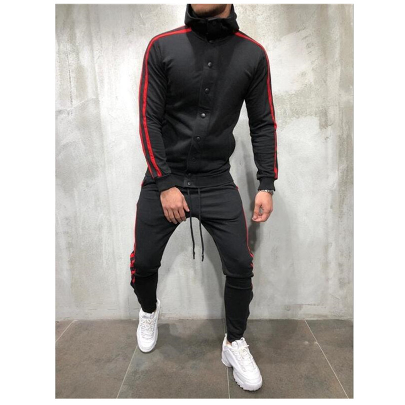 2019 Sweat Suits Clothing Casual Summer Tracksuits Stand Collars Streetwar Tops Mens Button Sport Suit 2 Piece Men's Suit