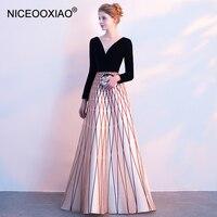 NICEOOXIAO 2018 новый элегантный длинное вечернее платье достойное Вечеринка бальное платье Sexy V воротник Для женщин модное платье GDLF67 1