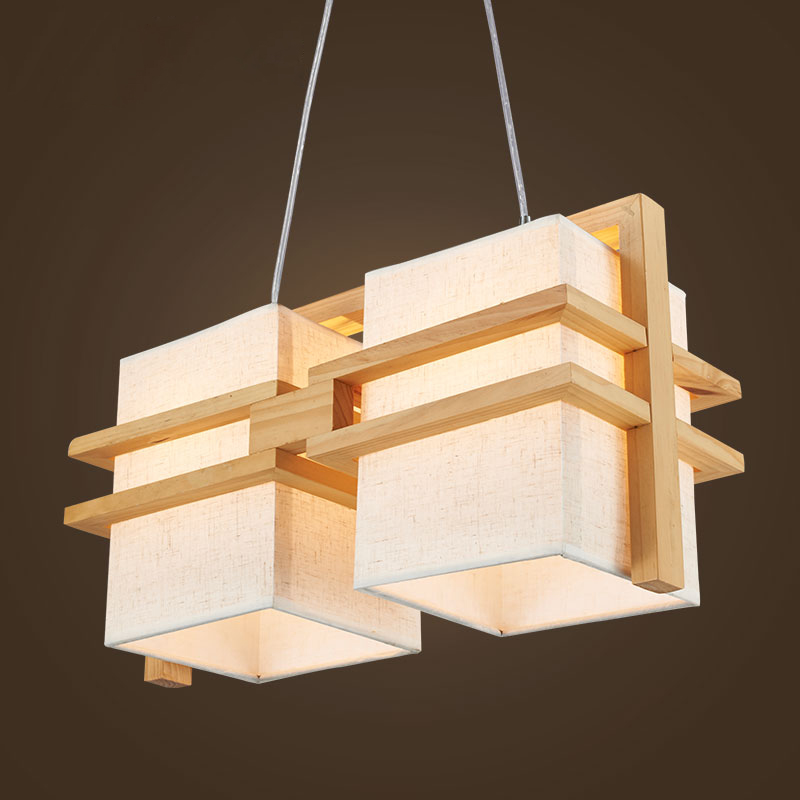 Solid Wooden pendant lights wood+Cloth shade creative original restaurant living room be ...