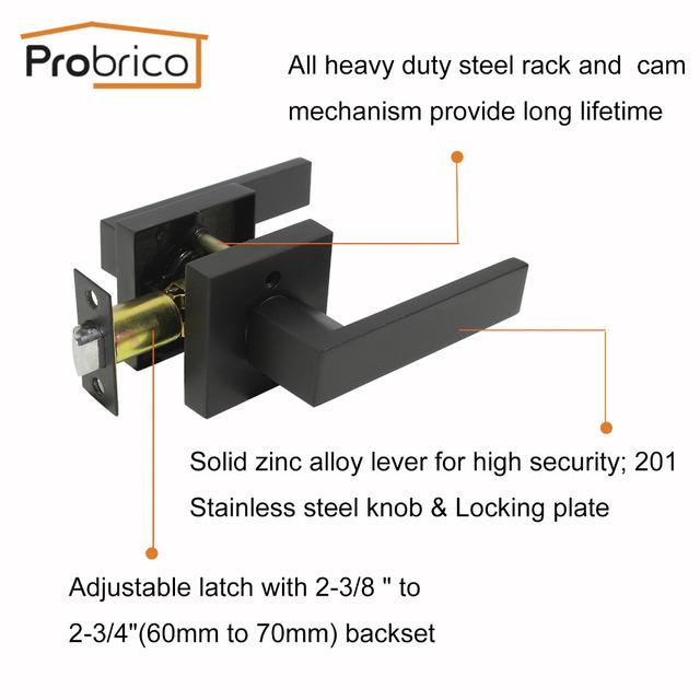 Probrico Keyless Interior Door Locks Stainless Steel Heavy Duty Locker Black/SatinNickel Locksets For Bathroom Kitchen Bedroom