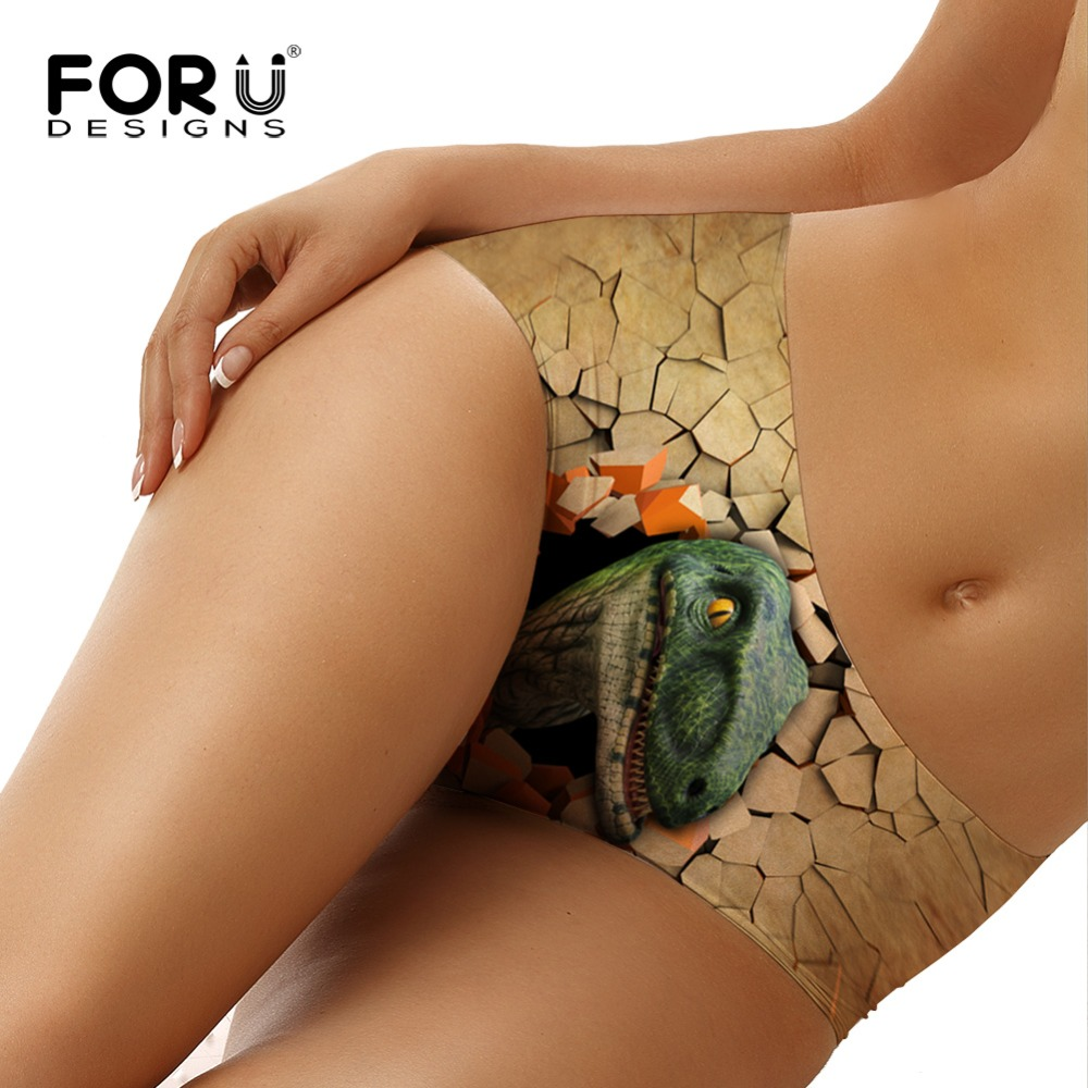 FORUDESIGNS Sexy Panties Seamless 3D Dinosaur Print Underwear Women Briefs Female Top Quality Panty