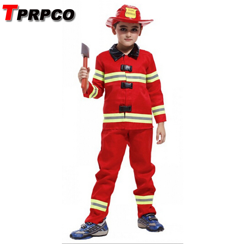 Tprpco Fireman Costumes Boys Play Stage Halloween Children Clothing Firefighters Fire Fighters Nl149 Home