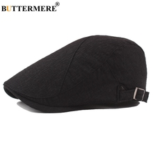 BUTTERMERE Black Beret Hat Men Women Cotton Soft Solid Flat Cap Driving Retro Vintage Adjustable Spring Cabbie Newsboy Caps Gray stylish adjustable buckle dark color retro style men s cabbie hat