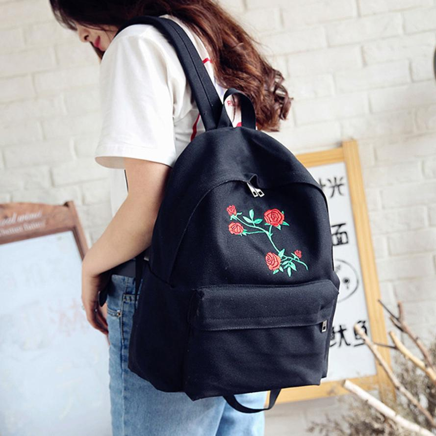 Naivety 2017 Women Backpack Rose Flower Embroidery Canvas Bag Travel Nuku Tokyo Nude Glossy Handbag Beige Rucksack Shoulder Bags 30s7503 Drop Shipping Us468