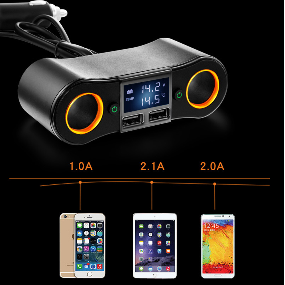 Double-Cigare de Voiture Allume Adaptateur Chargeur Affichage LED Tension Testeur 2 Commutateur 120 W Double Usb Chargeur De Voiture Adaptateur
