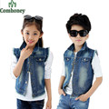 Boys Vest Denim Ripped Coat Girls Denim Kids Cowboy Vest Waistcoat Sleeveless Jean Jackets For Kids Children Outerwear